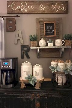34 Interesting Diy Mini Coffee Bar Design Ideas For Your Home. If you are looking for Diy Mini Coffee Bar Design Ideas For Your Home, You come to the right place. Here are the Diy Mini Coffee Bar Des. Coffee Bar Station, Home Coffee Stations, Tea Station, Coffee Station Kitchen, Coffee Bars In Kitchen, Coffee Bar Home, Coffee Bar Ideas, Coffe Bar, Coffee Kitchen Decor