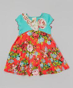 Look what I found on #zulily! Coral & Jade Flower Dress - Toddler & Girls by Pink Vanilla #zulilyfinds