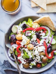 Salad with Baby Potatoes - Taste Love and Nourish Greek Salad with Baby Potatoes-if you love Zoe's Kitchen's Greek Salad, you need this easy recipe! Makes a great lunch or dinner! Beef Recipes, Whole Food Recipes, Vegetarian Recipes, Healthy Recipes, Salad Recipes, Vegetarian Salad, Drink Recipes, Healthy Eating Tips, Healthy Nutrition