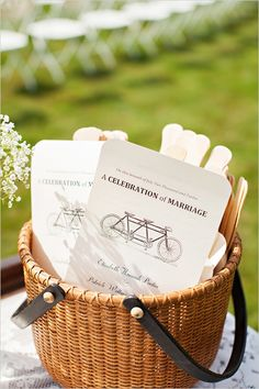 cute to put favors and programs in bike baskets