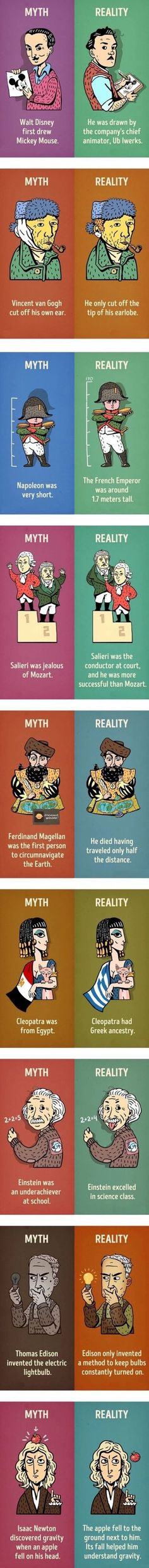 This is the funniest collection of images relating to myth vs reality, this funny pic presents the reality against the myths surrounding these historical people The More You Know, Good To Know, Wtf Fun Facts, Random Facts, Random Stuff, History Facts, Things To Know, Mind Blown, Just In Case