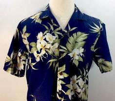 Love this Made In Hawaii vintage shirt. Hawaiian Classic Shirt Orchids Palm Leaves Large Pacific Legend 100% Cotton USA #PacificLegend #Hawaiian