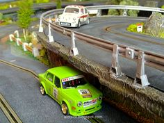 Fiat Abarth (Scalextric) and Simca Rally (Revell) at my Slot Car Track  #fiat…