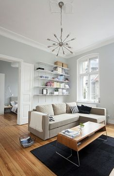 Small living room set up - 20 ideas for more spaciousness - Small Living Rooms, Living Room Sets, Home And Living, Living Room Designs, Living Room Interior, Living Room Furniture, Living Room Decor, Apartment Decorating On A Budget, Living Room Remodel
