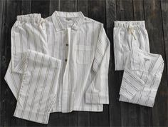 Light and airy organic cotton pajamas for men, in a dobby stripe with a retro vibe from Coyuchi.