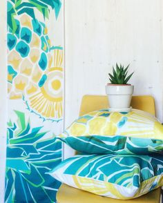 Sun and tropical vibes with our new Pineapple design! Table runner, tea towel and throw pillows, find them all @ AniZetDesigns and let summer come on your home! Pineapple Design, Design Table, Tropical Vibes, Natural Materials, Tea Towels, Table Runners, Fabric Design, Home Accessories, Tapestry