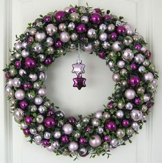 Kugelkranz Weihnachtskranz lila 36cm Türkranz Weihnachten Wandkranz Kranz Kugeln