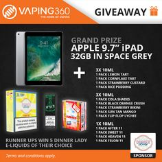 """Apple 9.7"""" iPad - 32GB Space Grey and Vape Dinner Lady eJuice Giveaway"""
