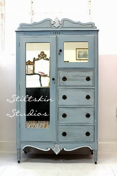 Chifferobe in French Grey Milk Paint (a bluish, greenish grey...gorgeous!) - from stiltskinstudios.