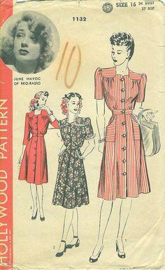 Wonderful 1940s yoked dress