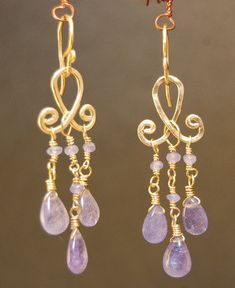 Gypsy+78+Tanzanite+on+hammered+curled+wire+by+CalicoJunoJewelry,+$84.00