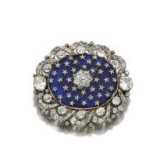 A nineteenth-century diamond and enamel 'starry night' brooch.