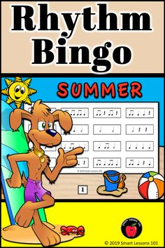 Summer Music Rhythm Bingo: Summer Music Game: Music End of the Year Activity Music Theory For Beginners, Basic Music Theory, Music Theory Games, Music Games, Rhythm Games, Music Sub Plans, Music Lesson Plans, Music Lessons, Music Activities For Kids