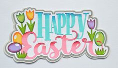 CraftECafe Paper Piecing Happy Easter for Premade Scrapbook Page Layout