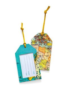 Create these #DIY map luggage tags for your well-traveled friend #holidays #gifts #hgtvmagazine // http://www.hgtv.com/design/make-and-celebrate/handmade/diy-gift-map-luggage-tags?soc=pinterest