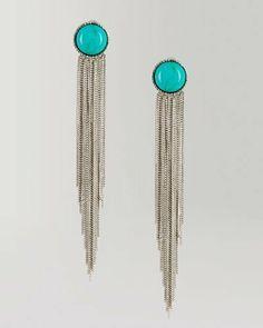Turquoise Multi Chain Duster Earrings