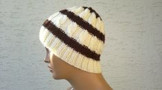 Knitted mens beanie unisex beret hat in cream by KnitterPrincess, $24.00