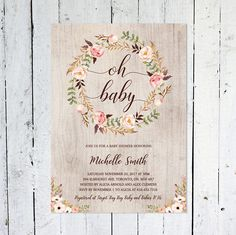 Greenery flower save the daterustic save the date greenery baby shower invitation girl oh baby boho baby shower invitation rustic floral fall printable printed stopboris Gallery