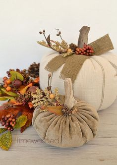 Fabric Pumpkins-Fall Décor - beautiful! From timewashed on etsy
