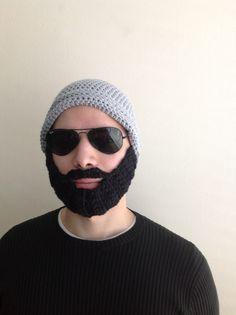 Handmade Crochet Beard Hat in Light grey beanie hat by SueStitch, $34.99