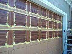 Painting An Over Sized Garage Door   Everything I Create - Woodworking Tutorials, Paint Garage Door to Look Like Wood Garage Door Hinges, Garage Door Paint, Garage Door Makeover, Woodworking Tutorials, Craft Tutorials, Big Doors, Paint Strokes, Red Arrow, Diy Home Improvement