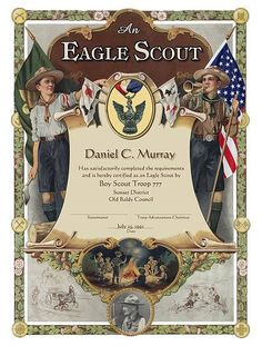 Eagle Scout Certificate - good site for Eagle Scout supplies and gifts