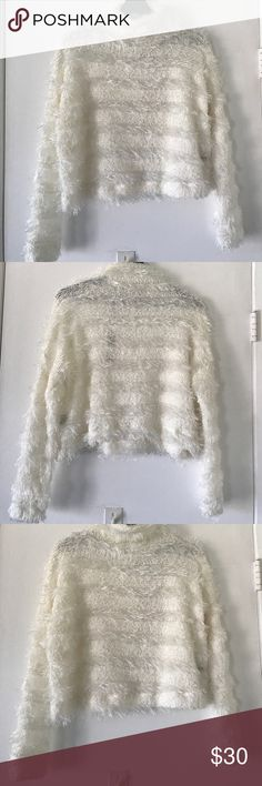NASTY GAL after party white sweater This is super cute white sweater, crop style, lose fitting, Hugh neck, pair it with your favorite pants for fall. Brand new. Taking offer 😊❤️ Nasty Gal Sweaters