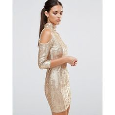 TFNC High Neck Sequin Mini Dress With Cold Shoulder (1.116.185 IDR) ❤ liked on Polyvore featuring dresses, cream, asos dresses, short sequin cocktail dresses, sequin cocktail dresses, short bodycon dresses and short sequin dress