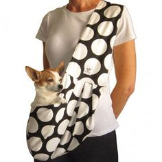 Black and White Polka Dot Dog Sling. With a soft black and white mini polka dot cotton interior, this cute carrier will keep your pup close and cozy when you're out and about! Pet Sling, Pet Bag, Dog Beds For Small Dogs, Dog Clothes Patterns, Dog Carrier, Baby Puppies, Pet Carriers, Dog Gifts, Fur Babies