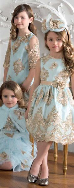 ON SALE !!!! Love these Gorgeous LESY LUXURY Turquoise Blue Tulle & Gold Lace Dresses. So Cute with the Matching LESY LUXURY Girls Turquoise Blue Fur Bolero Jacket. Perfect Dress for any Special Occasion, Holiday Party, Flower Girl at Wedding. #kidsfashion #kids #girl #dress #sale #fashion #flowergirl #wedding