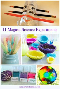 Having fun with science is a wonderful family project. So I have collected 11 simple science activities that your kids will think are magic! The color changing potion never fails to impress - Science Activities For Kids, Preschool Science, Teaching Science, Craft Activities, Science Education, Physical Science, Science Classroom, Science For Children, Activities For 6 Year Olds