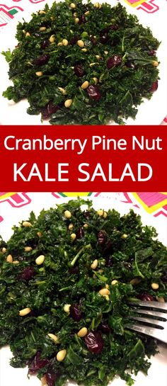 Kale Salad Recipe With Cranberries And Pine Nuts - what a great way to eat more kale! Easy and yummy! Pine Nut Recipes, Candy Recipes, Gluten Free Recipes, Sweets Recipes, Dinner Recipes, Healthy Salads, Healthy Recipes, Healthy Sides, Healthy Foods