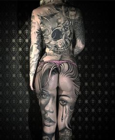 Beautiful Portrait Piece http://tattooideas247.com/portrait-legs/