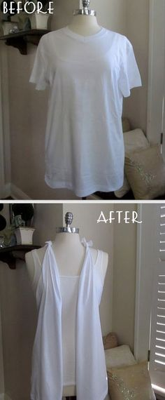 23 Life Hacks Every Girl Should Know - Use Old Tshirt to Make Vest - Life Hacks and Creative Ideas clothes style fashion old tshirt uses revamp vest clothes