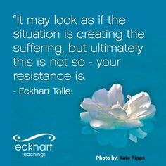 It may look as if the situation is creating the suffering, but ultimately this is not so - your resistance is. - Eckhart Tolle | Accept what is. Design what will be. http://dev.redwerks.org/ettv/2011/05/finding-balance/