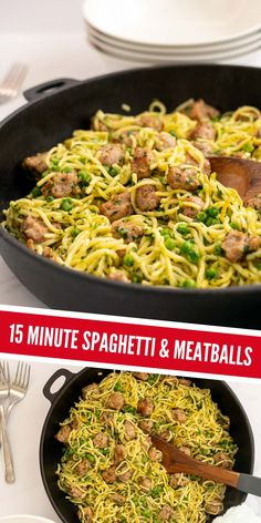 Quick easy spaghetti with sausage meatballs, this pasta recipe is ready in 15 minutes and is such a crowd-pleaser #pasta #spaghettiandmeatballs #spaghetti #familydinner Healthy Family Dinners, Healthy Meals For Kids, Family Meals, Kids Meals, Easy Meals, Healthy Recipes, Family Recipes, Healthy Food, Fried Spaghetti