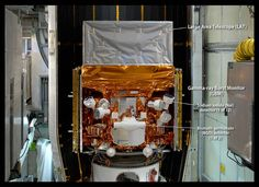 This image, taken in May 2008 as the Fermi Gamma-ray Space Telescope was being readied for launch, highlights the detectors of its Gamma-ray Burst Monitor (GBM). The GBM is an array of 14 crystal detectors.