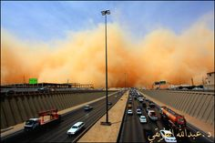 Riyadh, Saudi Arabia. (sandstorm on horizon)