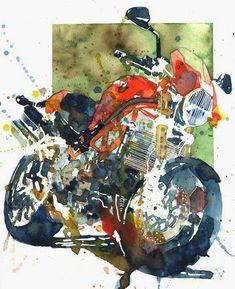 Ducati Monster Kyle - I Love Motorrad Moto Ducati, Ducati Cafe Racer, Honda Cb750, Moto Guzzi, Motorcycle Posters, Motorcycle Art, Bike Art, Ducati Monster, Gs 1200 Adventure