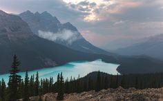 Download wallpapers Moraine Lake, mountain lake, glacial lake, forest, mountains, Banff, Alberta, Canada, mountain landscape