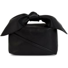 SIMONE ROCHA Bow-detail leather shoulder bag (41,335 PHP) ❤ liked on Polyvore featuring bags, handbags, shoulder bags, zipper pouch, leather shoulder bag, leather tote purse, leather zip pouch and shoulder handbags