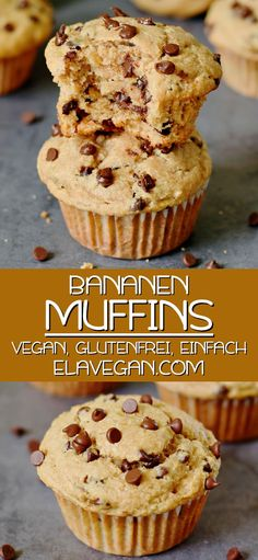 Moist banana chocolate chip muffins with simple ingredients. The recipe is vegan, gluten-free & easy to make. Great banana muffins for breakfast & dessert! Vegan Breakfast Recipes, Healthy Dessert Recipes, Easy Desserts, Healthy Banana Muffins, Banana Chocolate Chip Muffins, Best Vegan Chocolate, Banana Recipes, Breakfast Dessert, Vegan Sweets