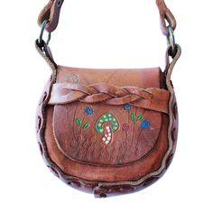 Mini Mexican Leather Tooled Purse - Mushroom- www.shopsweetthreads.com