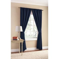 Mainstays Bennett Heavyweight Textured Window Panel Pair Available In Multiple Sizes And Colors, Blue