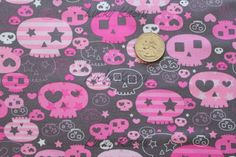NEW Timeless Treasures Skulls Gray Fabric - By the Yard. $8.50, via Etsy.