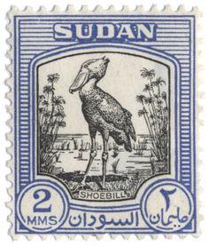 Stamp: Shoebill (Balaeniceps rex) (Sudan) (Issues of Sudan) Mi:SD 124 Shoebill Stork, Blue Boat, Big Bird, African Animals, Mail Art, Bird Art, Bird Feathers, Postage Stamps, Pet Birds