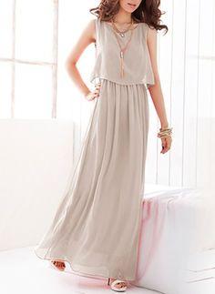 Chiffon Reto Sem magas Longo Informal Vestidos de (1037396) @ floryday.com