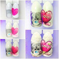 """#nailarttutorial #lovenail #heartnailart #valentinenailart МАНИКЮР: уроки и МК (@nails_by_steps) on Instagram: """"@mari_mari_nailart - Малыш Тедди Без него 14 февраля ну никак не прокатит Ещё чуть-чуть...и…"""""""