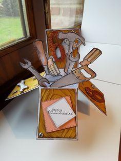 """Voici une carte que j'ai confectionnée pour les 6 ans d'Edgard, mon petit neveu, avec le kit tampons """"Les bons outils' de chez Stampin'up. Catalogue Printemps Eté 2017. Une bonne après midi de travail, mais je me suis régalée en pensant à sa bouille...."""