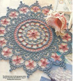 PHOTO ONLY ~ Follow the Stars Home Doily crochet  ~ June Crochet World ? year